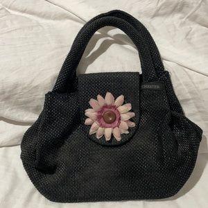 Cheater black straw like handbag pinkish purple flower euc